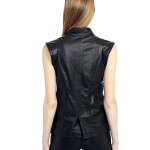 VV10 - Back - One Bottom Belly Gilet in Black Leather