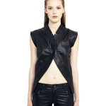VV10 - Front - One Bottom Belly Gilet in Black Leather