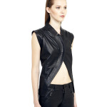 VV10 - Side - One Bottom Belly Gilet in Black Leather
