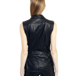 VV11 - Back - Gilet with Buckles and Bottoms Black Leather