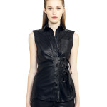 VV11 - Front - Gilet with Buckles and Bottoms Black Leather