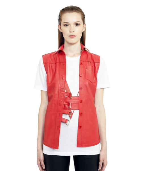 VV12 - Front - Gilet with Buckles and Bottoms Red Leather