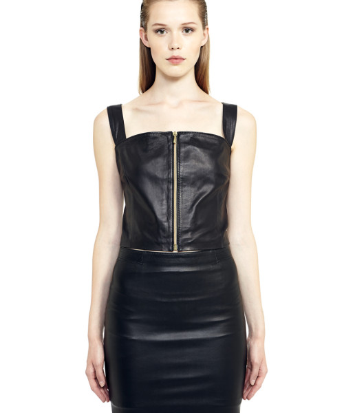 VV13 - Front - Top in Black Leather with Gold Zip