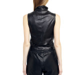 VV14 - Back - Gilet with Razored Laces in Black Leather