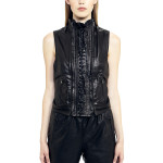 VV14 - Front - Gilet with Razored Laces in Black Leather