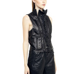 VV14 - Side - Gilet with Razored Laces in Black Leather