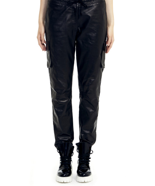 VV17 - Front - Black Leather Cargo Pants Straight Fit 2