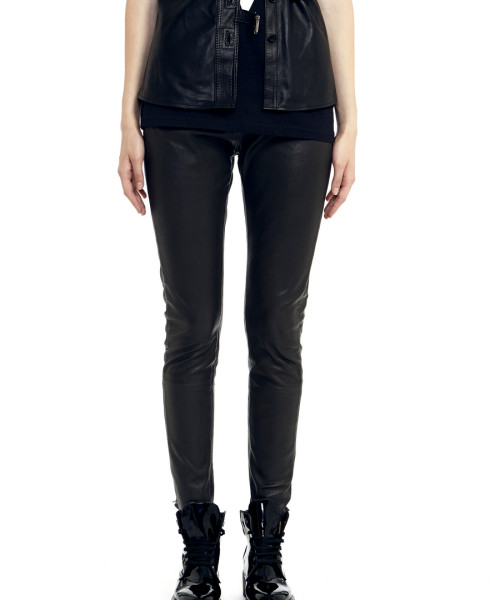VV19 - Front - Black Stretch Leather Leggings