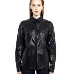 VV2 - Front - Black Leather Nappa Shirt