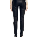 VV20 - Back - Jeans in Black Stretch Leather with Frontal Zip