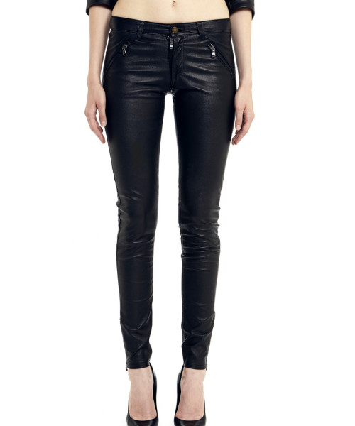 VV20 - Front - Jeans in Black Stretch Leather with Frontal Zip