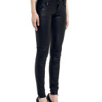 VV20 - Side - Jeans in Black Stretch Leather with Frontal Zip
