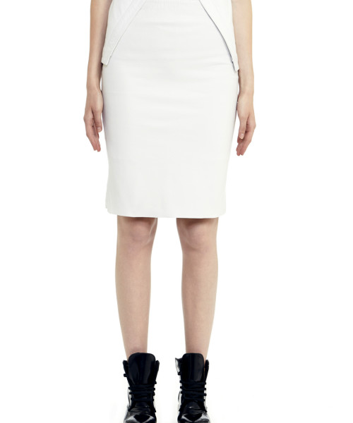VV21 - Front - White Leather Skirt with Zip