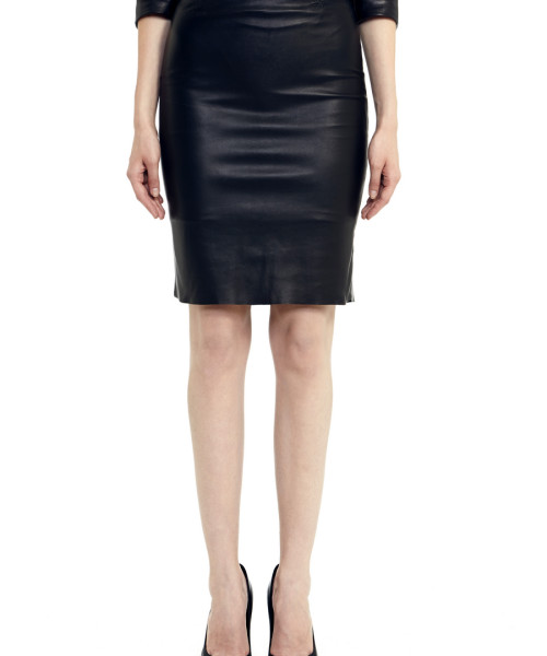 VV22 - Front - Black Leather Skirt with Zip