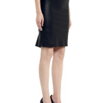 VV22 - Side - Black Leather Skirt with Zip