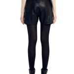 VV23 - Back - Black Leather Shorts with Zip