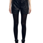 VV23 - Front - Black Leather Shorts with ZIp