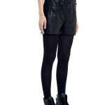 VV23 - Side - Black Leather Shorts with Zip
