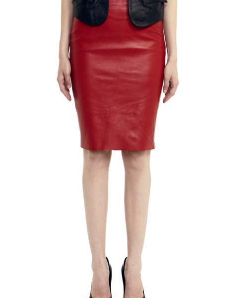 VV27 - Front - Red Leather Skirt with Zip