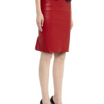 VV27 - Side - Red Leather Skirt with Zip