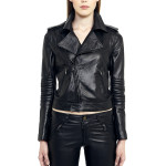 VV5 - Front - Black Leather Nappa Biker Jacket With Removable Sleeves
