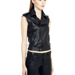 VV5 - NoSleeves - Black Leather Nappa Biker Jacket With Removable Sleeves
