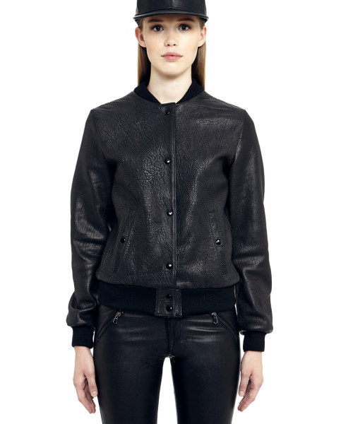 VV6 - Front - Black Leather Crocco BaseBall Jacket
