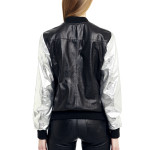 VV7 - Back -  Black Leather Baseball Jacket with Silver Sleeves