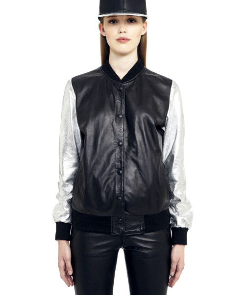 VV7 - Front -  Black Leather Baseball Jacket with Silver Sleeves