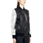 VV7 - Side - Black Leather Baseball Jacket with Silver Sleeves