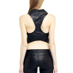 VV9 - Back - Gilet with T Shape Back  in Black Leather with Zip