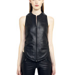 VV9 - Front - Gilet with T Shape Back  in Black Leather with Zip