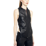 VV9 - Side - Gilet with T Shape Back  in Black Leather with Zip