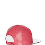 VVSNAPBACK04 - Back - Red Leather Snapback with Silver Beam