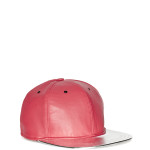 VVSNAPBACK04 - Front - Red Leather Snapback with Silver Beam