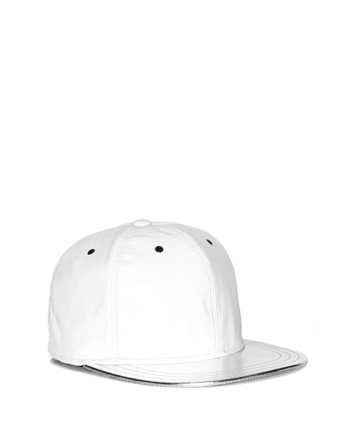 VVSNAPBACK06 - Front -White Leather Snapback with Silver Beam